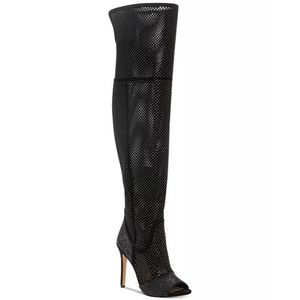 Vince Camuto 6.5 Over The Knee Boots Suede Black Studded Rhinestones Kamorina